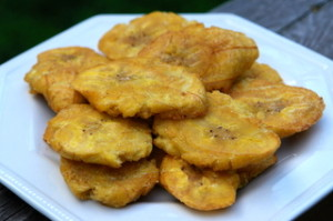 PATACONES: smashed and fried green plantains that are typically served in seafood dishes